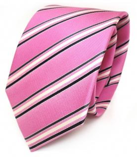 Schicke Krawatte pink rosa schwarz weiss gestreift reine Seide / Silk
