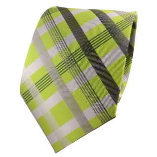 TigerTie Designer Krawatte grün hellgrün silber grau anthrazit kariert - Binder