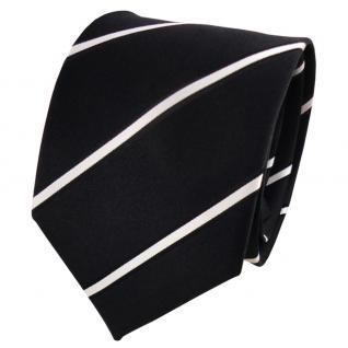 Designer Seidenkrawatte schwarz silber gestreift - Krawatte Seide Silk - Vorschau 1