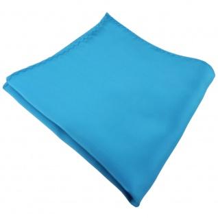 TigerTie Einstecktuch in türkis türkisblau wasserblau einfarbig - Tuch Polyester