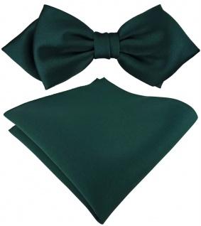 vorgebundene TigerTie Spitzfliege + Einstecktuch in tannengrün einfarbig + Box