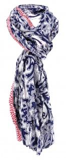 TigerTie Halstuch in blau weiß rot gemustert Gr. 184 cm x 50 cm - Tuch Schal