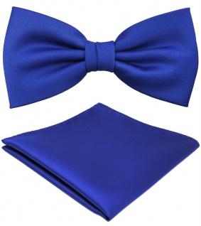 TigerTie Satin Fliege + Einstecktuch blau royalblau leuchtblau Uni + Geschenkbox - Vorschau
