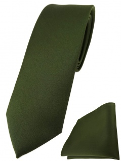 schmale TigerTie Designer Krawatte + Einstecktuch in olivegrün einfarbig uni
