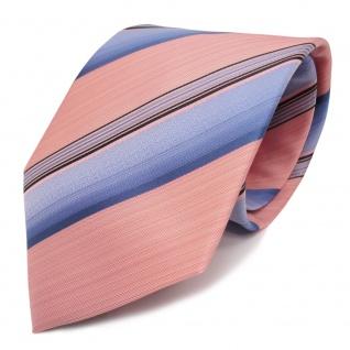 Designer Krawatte rosa lachs blau anthrazit gestreift - Schlips Binder Tie