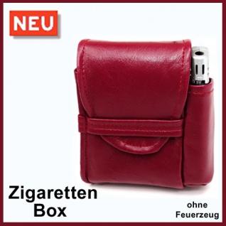 Zigaretten Etui Farbe bordeaux rot mit Feuerzeugfach - Zigarettenbox Box
