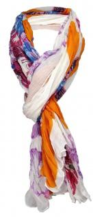 gecrashter Schal in orange weissgrau pink türkis lila rosa grün - 180 x 100 cm