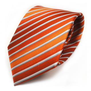 TigerTie Seidenkrawatte orange rotorange silber grau gestreift - Krawatte Seide