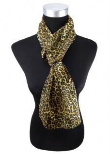 Damen Schal Halstuch messing gold schwarz Leopardenmuster 160 cm x 50 cm - Tuch