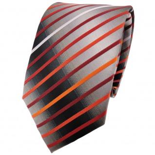 schöne TigerTie Krawatte in orange silber grau weiß schwarz gestreift - Binder