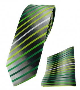 schmale TigerTie Krawatte + Einstecktuch in grün weiss silbergrau gestreift