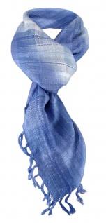 Halstuch in blau hellblau silber grau kariert mit Fransen - Gr. 90 x 90 cm