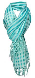 Designer Schal in mint türkis gemustert mit Fransen - Baumwolle/Seiden Mischung