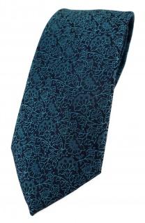 TigerTie Designer Krawatte in petrol schwarz florales Muster