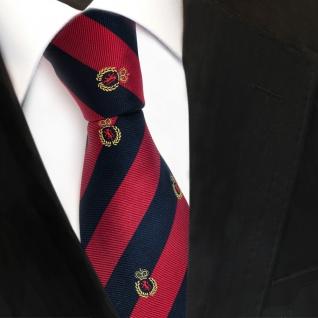 TigerTie Designer Seidenkrawatte rot blau royal gold gestreift Wappen - Krawatte
