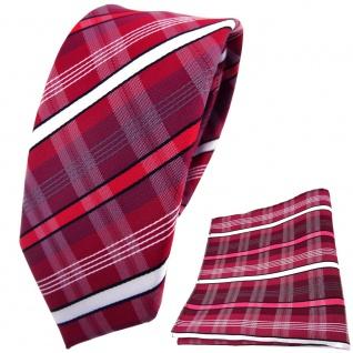 schmale TigerTie Krawatte + Einstecktuch rot dunkelrot weiß schwarz grau gestreift