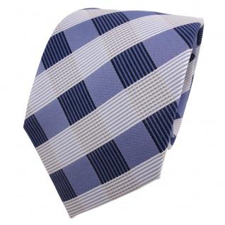 Designer Krawatte blau dunkelblau royal weiß kariert - Schlips Binder Tie