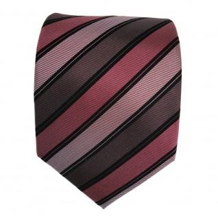 Seidenkrawatte rot braun schwarz silber gestreift - Krawatte Seide Binder Tie - Vorschau 2