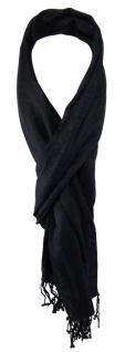 TigerTie Schal in schwarz gemustert mit Fransen - Gr. 180 x 35 cm - Halstuch