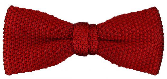 TigerTie Strick Seidenfliege in rot einfarbig Uni - Fliege 100% Seide