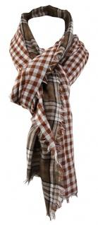 TigerTie Schal braun weiß schwarz kariert mit kleinen Fransen - Gr. 180 x 50 cm