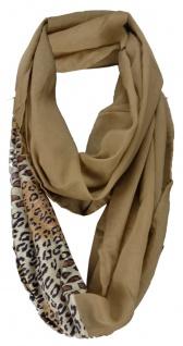 Damen Loop Schal in braun beige mit Leopardenmuster - Gr. 160 x 50 cm