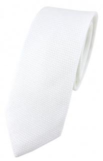 schmale TigerTie Designer Krawatte Pique in weiss gemustert - 100% Baumwolle