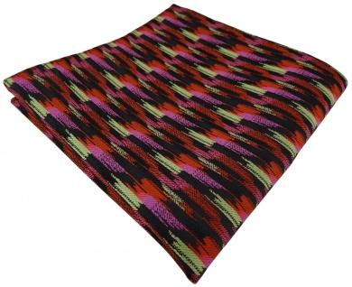 TigerTie Einstecktuch in orange rosa gold schwarz gestreift gemustert - Tuch