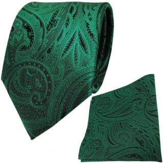 TigerTie Seidenkrawatte + Einstecktuch in grün smaragdgrün schwarz Paisleymuster