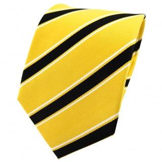 TigerTie Seidenkrawatte gelb schwarz weiß gestreift - Krawatte Seide Binder Tie