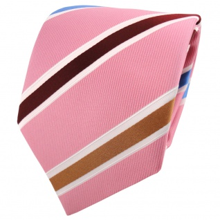 TigerTie Krawatte rosa altrosa bordeaux gold blau creme gestreift - Binder Tie