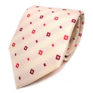 Designer Krawatte elfenbein beige rot gemustert - Schlips Binder Tie