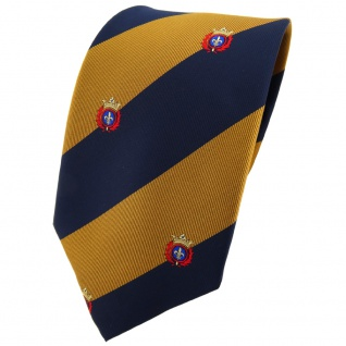 TigerTie Krawatte gold goldbraun dunkelblau gestreift mit Wappen - Tie Binder