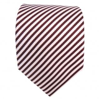 Designer Krawatte rot bordeaux weiss gestreift - Krawatte Tie Binder - Vorschau 3