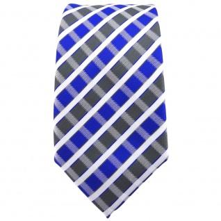 Schmale TigerTie Krawatte blau grau silber weiss gestreift - Schlips Binder - Vorschau 2