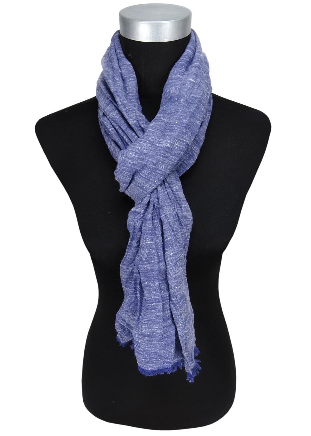 0e6ee33395e6c5 gecrashter Schal in blau dunkelblau Uni mit kleinen Fransen - Gr. 180 x 50  cm