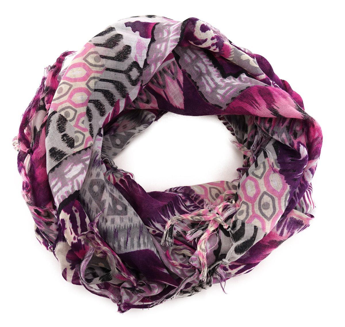 Tuchgröße 100 x 100 cm TigerTie Damen Halstuch in violett flieder gemustert