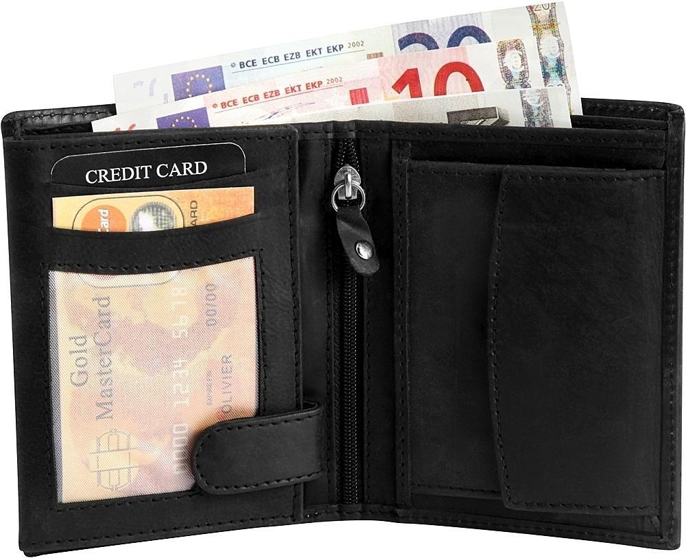 b60142fe8b92a schöner Echt Leder Geldbeutel in schwarz mit mehrere Fächer -Geldbörse  Echtleder 1 ...