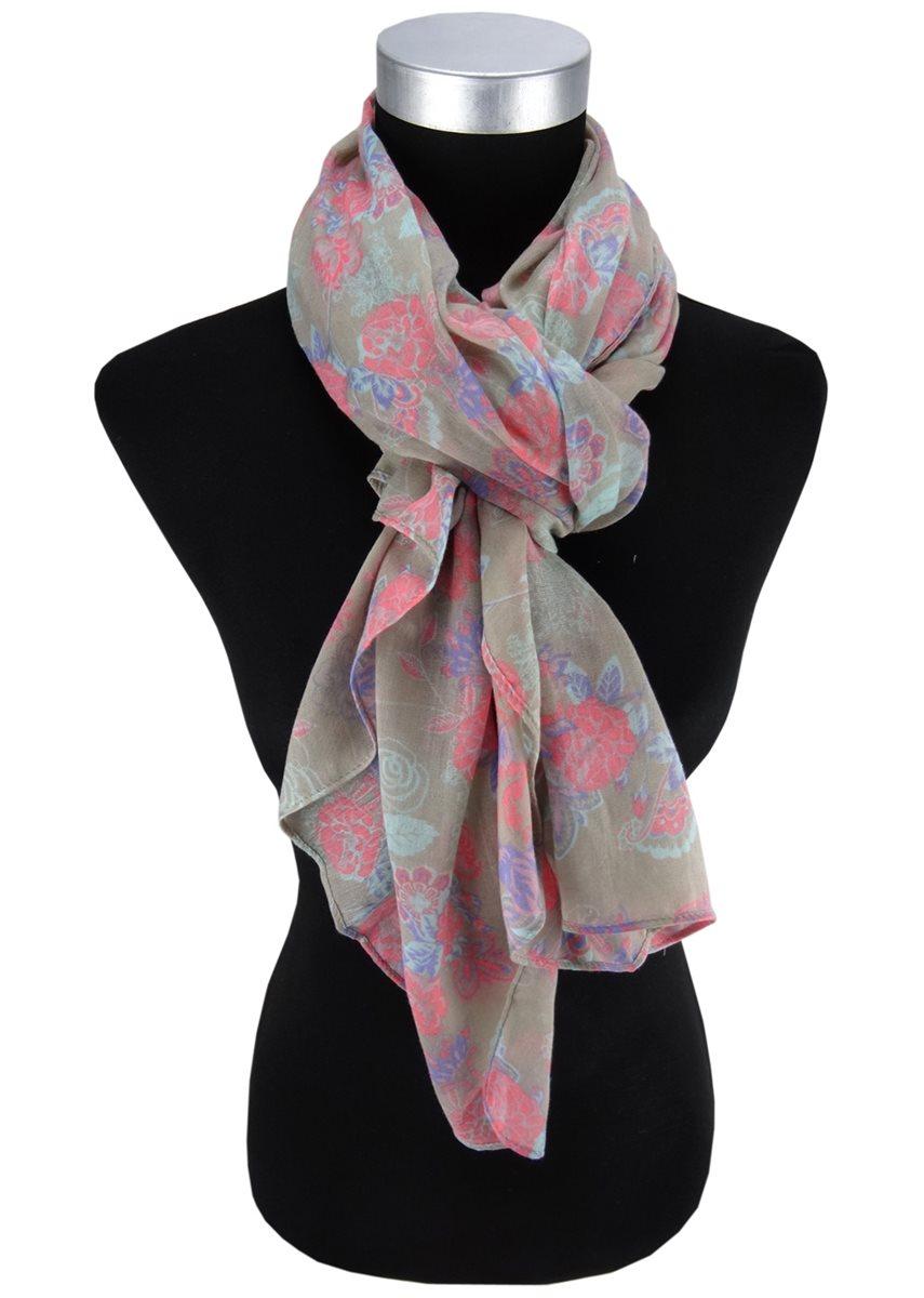 weltweit verkauft 2019 original weich und leicht Damen Halstuch in oliv rot blau Blumenmuster Gr. 160 cm x 100 cm - Tuch  Schal