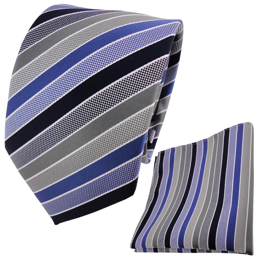 Schöne TigerTie Krawatte + Einstecktuch In Blau Dunkelblau