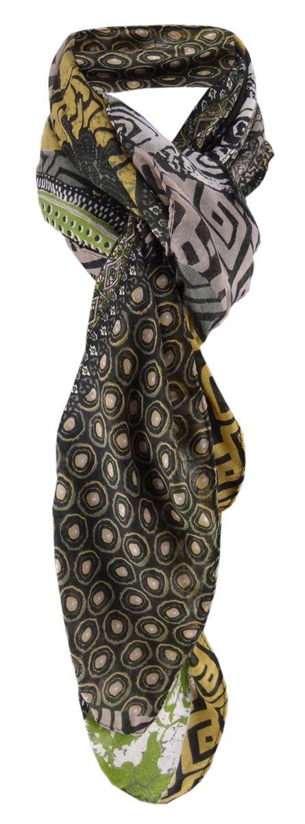 Halstuch in camel braun gr/ün grau schwarz gemustert Gr 100 x 100 cm