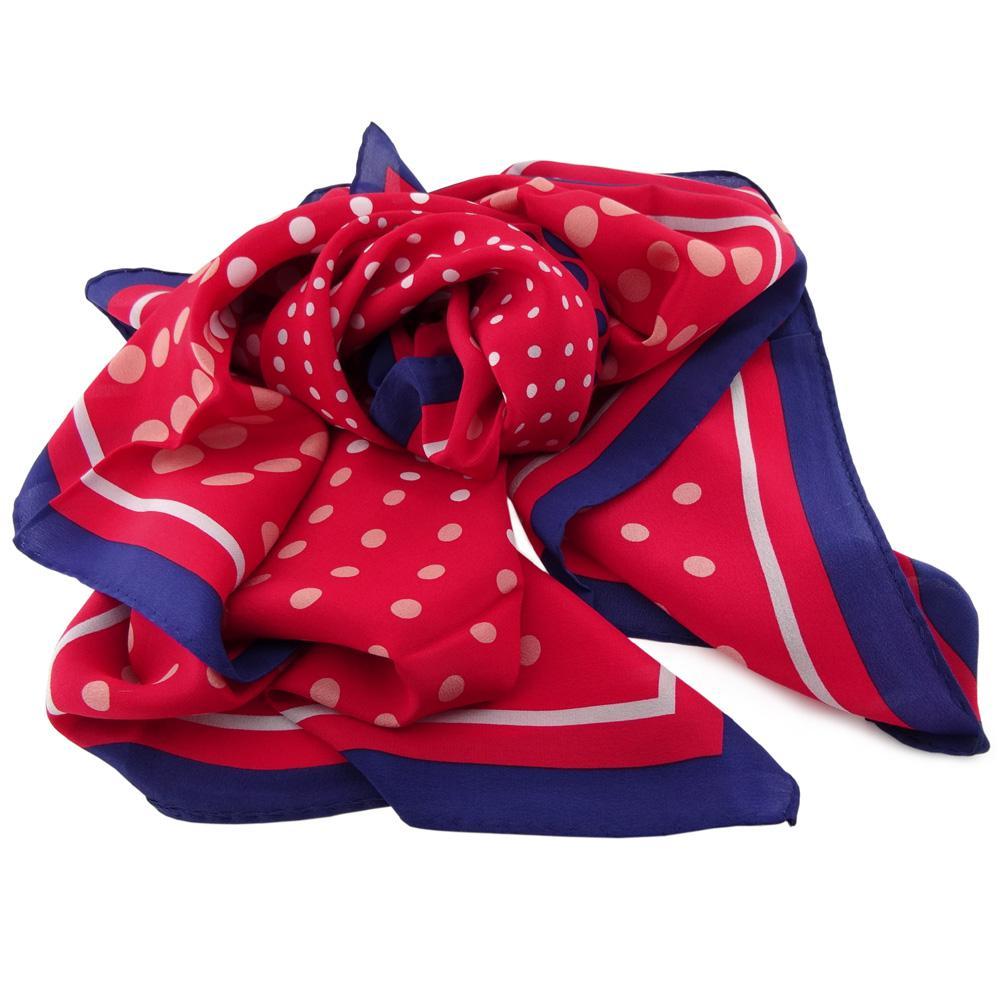 25a2d9bbe080fc TigerTie Damen Seidenhalstuch rot blau weiß lachs grau 90 x 90 - Schal  Seide 1 ...