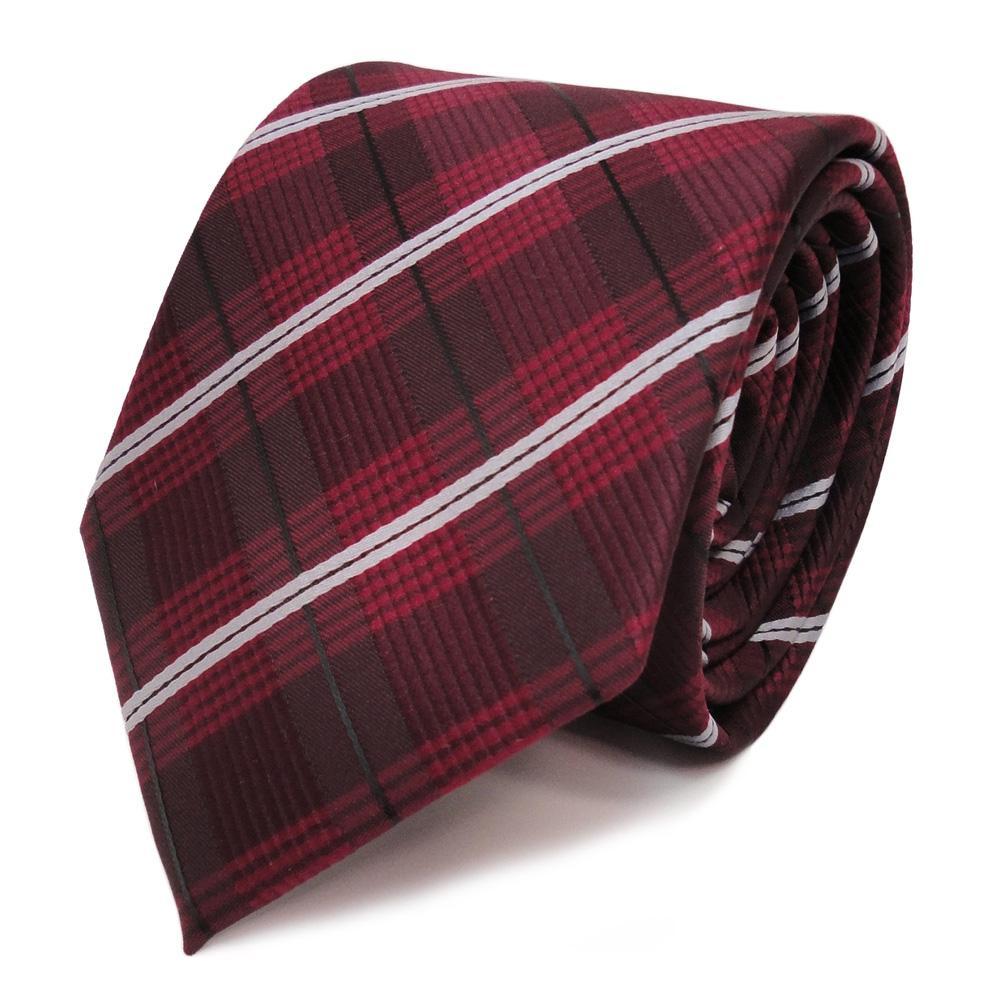 TigerTie Designer Krawatte in weinrot rot grau silber schwarz gestreift Binder
