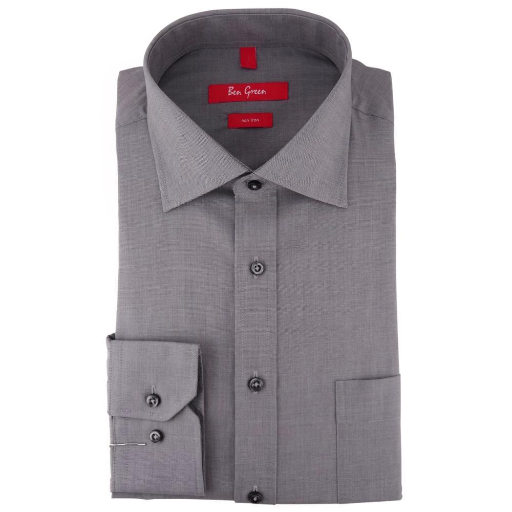 promo code cad3e c62a9 Ben Green Herrenhemd grau Uni langarm bügelfrei - New-Kent-Kragen Hemd  Gr.43 - yatego.com