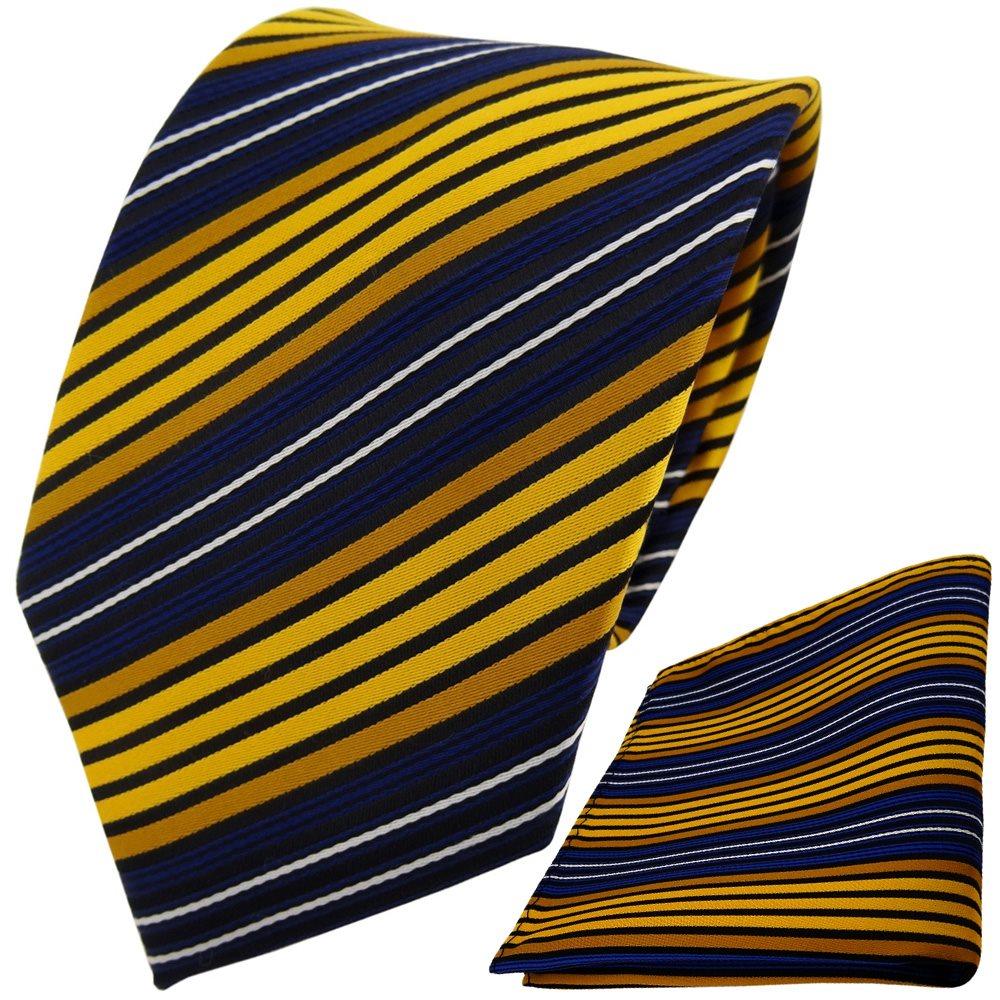 Einstecktuch zitronengelb gold anthrazit silber schwarz gestreift TigerTie Designer Krawatte