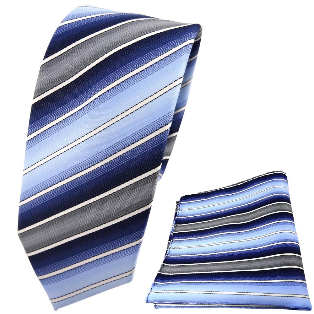 Schmale TigerTie Krawatte + Einstecktuch Blau Dunkelblau