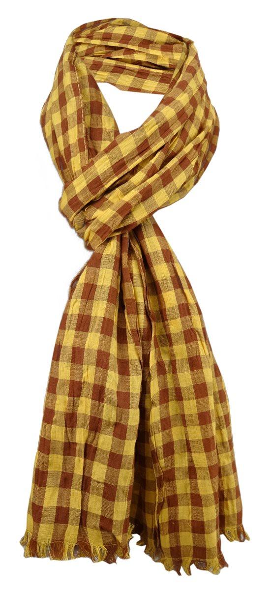 niedriger Preis weltweit verkauft Qualitätsprodukte gecrashter Schal in gelb ocker braun kariert mit Fransen - Gr. 180 x 50 cm