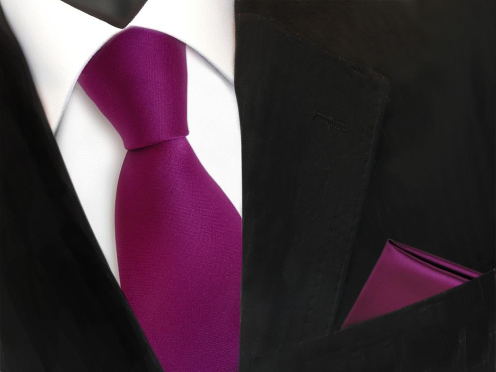 schöne TigerTie Krawatte Binder Tie Einstecktuch in magenta fuchsia uni