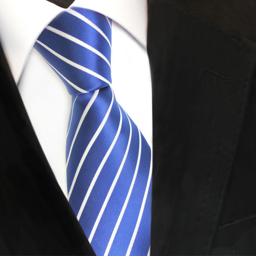 Schmale TigerTie Krawatte beige braun blau hellblau weiß gestreift Binder Tie