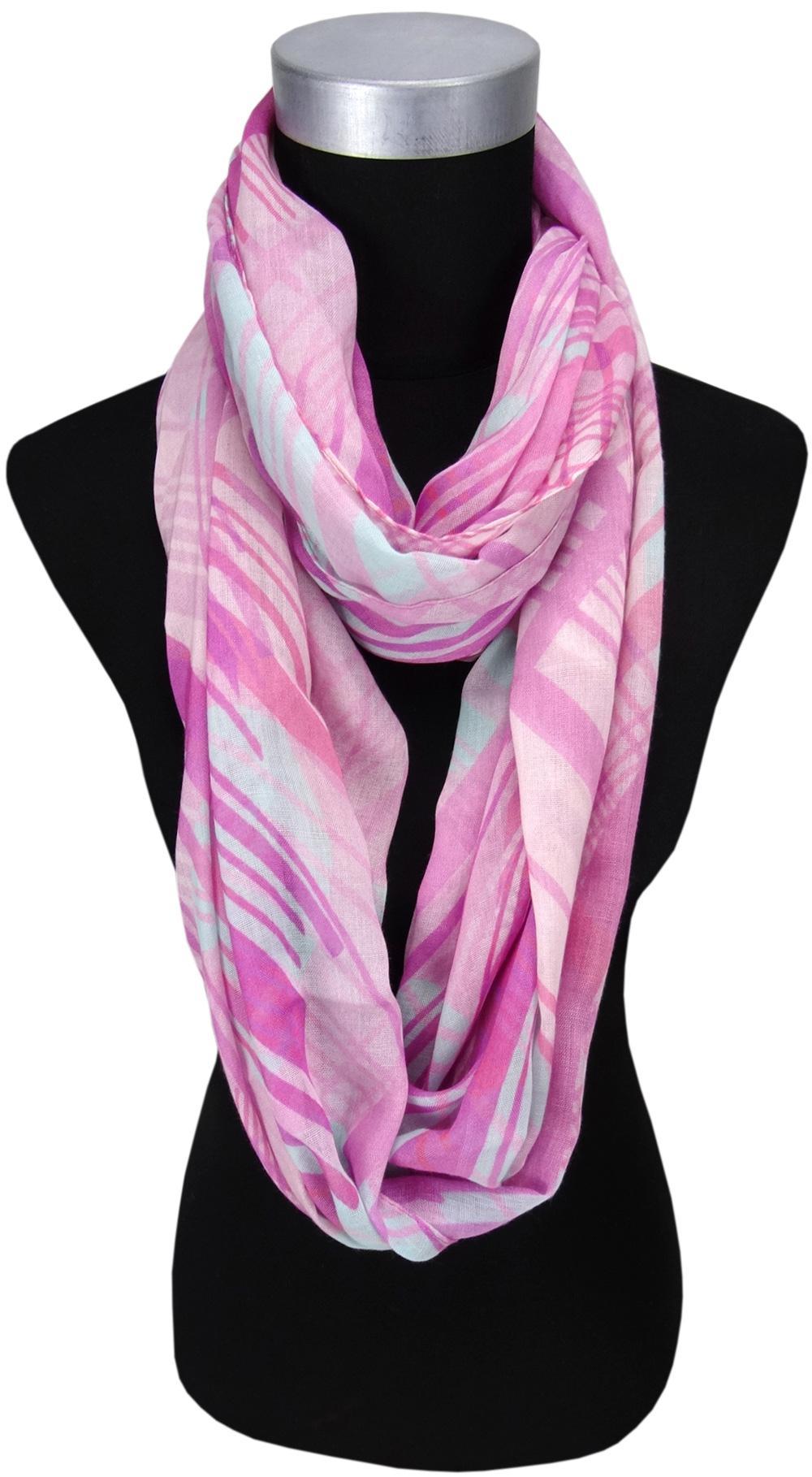 b12778d14177 TigerTie Chiffon Loop Schal in rosa pink grau gemustert - Gr. 180 x 70 cm